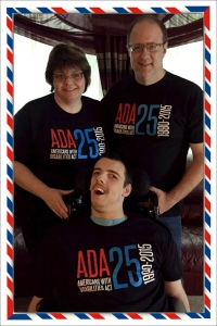 nick, julie, and julie's husband with their ada shirts