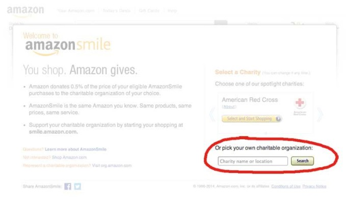 """The amazon smile home page. A red circle is around text that says """"Or pick your own charitable organization:"""""""""""