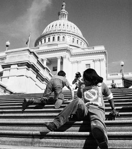 Iconic Picture of persons with disabilities climbing up the capitol steps